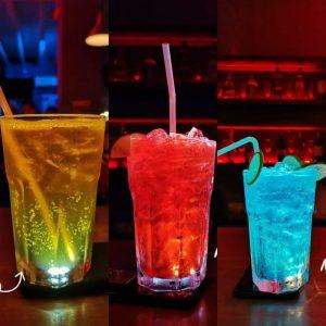 3 cocktails on bar