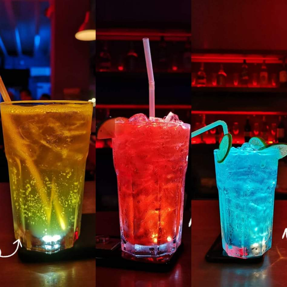 coloured cocktails in glasses