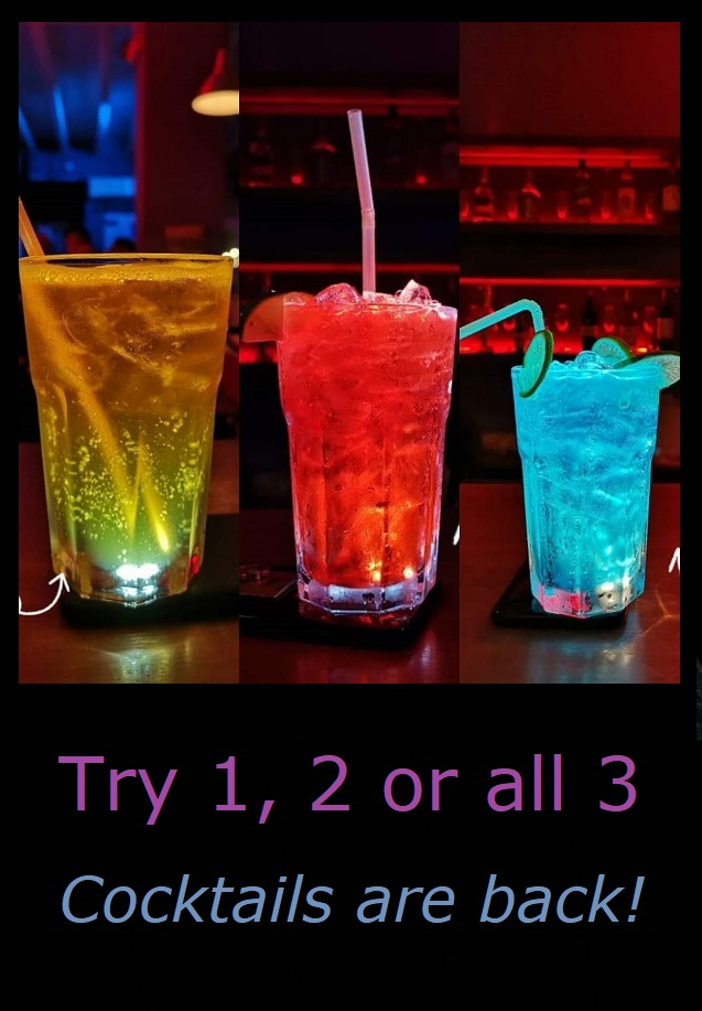 3 cocktails different coloured drinks