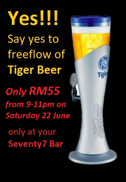 Tiger beer tower with promo text dates